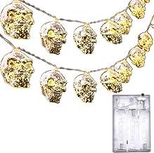 Lichtsnoer voor Halloween met skelet, 3 meter, 20 leds, voor Halloween, hoofd, botten, waterdicht, op batterijen, decorati...