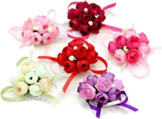 4Pack Wedding Wrist Flowers Artificial Rose Corsage Party Prom Hand Flower Decor for Bridal Bridesmaids Random Color