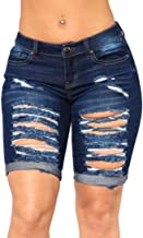 FEESON Women's Summer Turn Up Cuffs Above-Knee Length Destroyed Ribbed Jeans Shorts
