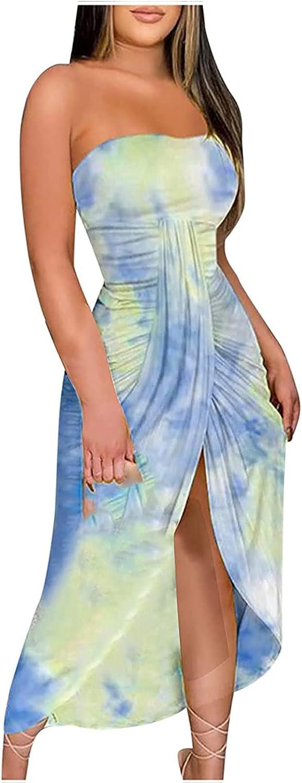 Kaideny Women Solid Top Printing Slit Beach Long Maxi Skirt Two-Piece Suit Set Club Beach Basic Bodycon Long Maxi Dress