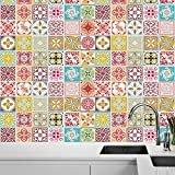 Walplus Autoadhesivo Mural Pegatinas Pared Vinilo Decoración Hogar Bricolaje Living Cocina Dormitorio Decor Papel Pintado Marroquí Rojo & Malia de Colores Azulejos Adhesivos de Pared 48pcs 15cm x 15cm