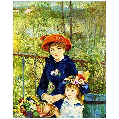 Cuadro Lienzo, Impresión Digital - En La Terraza Pierre Auguste Renoir, cm. 80x100 - Decoración Pared