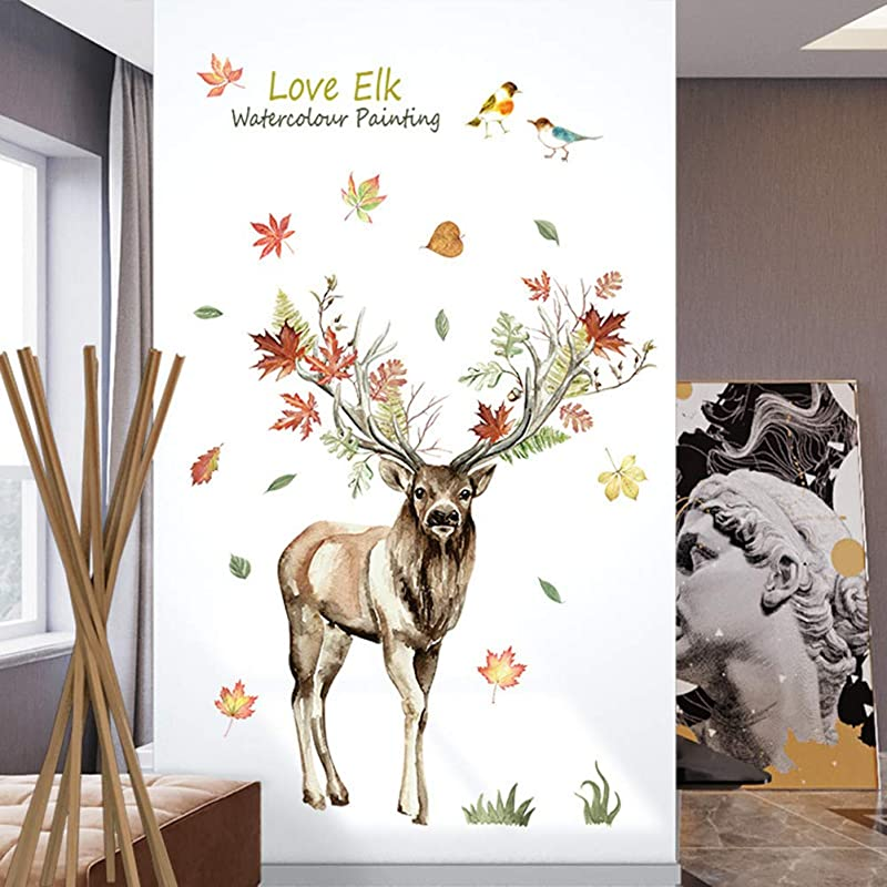 Ekqw015l Wall Sticker Murals Deer Elk Leaves Removable Wallpaper Wall Sticker Wall Decal Wall Decoration Mural Decals For Kid Baby Nursery Classroom DIY Decoration Home Decor
