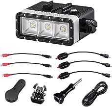 Suptig Luz impermeable Alta potencia Regulable 5200 mAh Batería impermeable Luz de video LED Luz nocturna Noche Buceo Luz subacuática Compatible For Gopro Todas las series y otras cámaras de acción