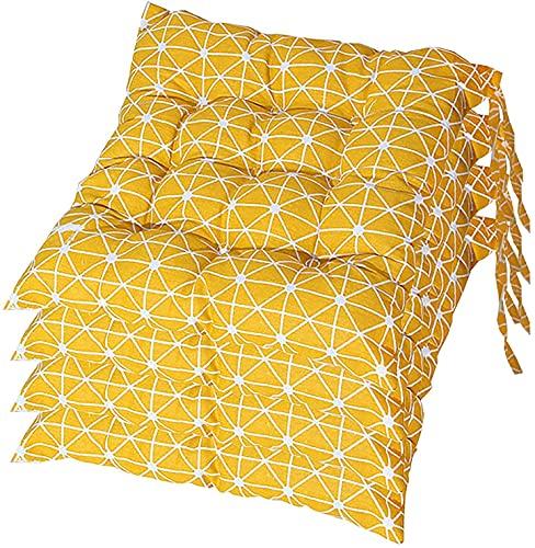 CIN&GO Juego de 4 Cojines para sillas, cómodos Cojines de Asiento Cuadrados de algodón con Correas para los Hombros, adecuados para jardín, Cocina, Comedor, Sala de Estar, terraza