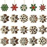 Blulu 100 Piezas Copo de Nieve de Madera de Navidad Adornos de Copos de Nieve Ahuecados Adornos Colgantes de Árboles de Navidad con Cuerda para Arte Decoración de Navidad