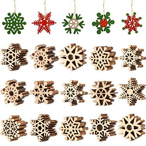 Blulu 100 Stücke Weihnachten aus Holz Schneeflocke Ausgehöhlten Schneeflocken Verzierungen Christbaumschmuck Hängen mit Schnur für Weihnachtsdekoration Handwerk