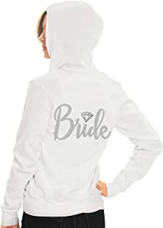 RhinestoneSash Bride Sweatshirt Zip Up Hoodie - Bride to Be Bridal Shower Spa Day Jacket - Bachelorette Party Hoodie