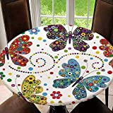 AmaUncle Seamless Pattern with Colorful Butterflies Home Round Fitted Polyester Tablecloth with Elastic Edge Waterproof for Outdoor, Patio, Kitchen and Dining Room Fit for 43