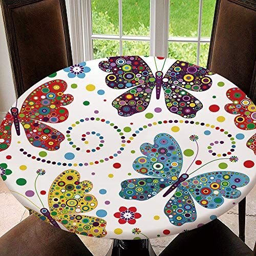 AmaUncle Seamless Pattern with Colorful Butterflies Home Round Fitted Polyester Tablecloth with Elastic Edge Waterproof for Outdoor, Patio, Kitchen and Dining Room Fit for 43'-47' Table