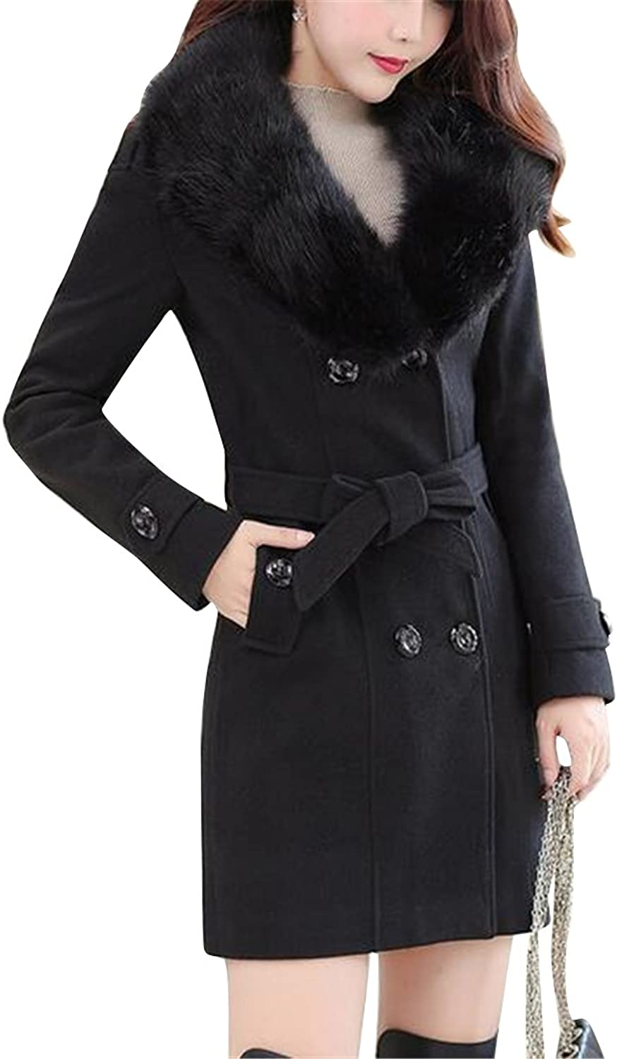 Fubotevic Women Slim Fit Faux Fur Collar Wool Blend Double Breasted Winter Pea Coat Overcoat