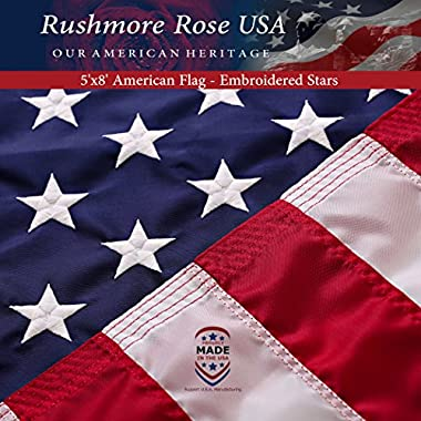 Rushmore Rose USA US Flag 5x8 ft: 100% Made in USA. Premium Large American Flag 5x8 ft. Embroidered Stars and Stitched Stripes US Banner - Display with Pride