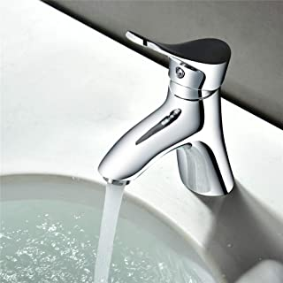 JIANGYE Modern Luxury Chrome Basin Sink Mixer Tap Bathroom Lever Monoblock Faucet hot and Cold Water washbasin Brass Lead Free Faucet for Home Hotel Villa