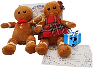 """BYO-BFF Christmas Gingerbread Figures Gift Box 8"""" Plush Doll Set with Mystery Surprise Inside. Adorable Gifts for Boy and Girl"""