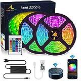 WIFI Tira de LED 10 m, ALED LIGHT RGB tiras de luces 5050 SMD 300, sincronización con música, banda LED controlada por aplicación de teléfono inteligente, funciona con Alexa, Google Home
