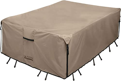 ULTCOVER Rectangular Patio Heavy Duty Table Cover - 600D Tough Canvas Waterproof Outdoor Dining Table and Chairs Gene...
