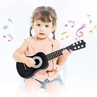 WEY&FLY Kids Toy Guitar 6 String, Baby Kids Cute Guitar Rhyme Developmental Musical Instrument Educational Toy for Toddlers (Black/Silver)