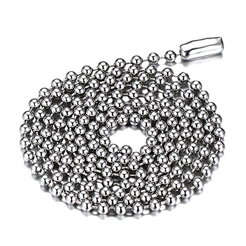 SINLEO Titanium Stainless Steel Small Beads Ball Chain Necklace for Men Women Dog Tag Link Chain Silver 2.4MM 18 Inches