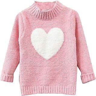 Joe Wenko Girls Cute Plush Mock Neck Casual Pullover Sweater Knitwear
