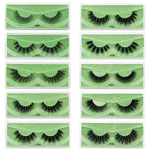 Lomelomme Schwarz Falsche Wimpern, 10 Paare 3D Falsche Wimpern Wiederverwendbare Lange, Natürliche Lange Pure Handgemacht Natürliches Aussehen Wimpern fur Erweiterung Makeup Style und Cosplay