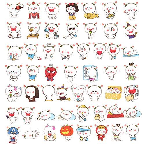 Pegatinas de dibujos animados lindos emojis bolsa para portátil maleta, pegatinas para maleta, guitarra, vaso de agua, iPad, 53 unidades