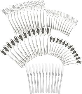 COM-FOUR® juego de cubiertos de 60 piezas de acero inoxidable con tenedor, cuchillo de mesa, cuchara, tenedor para pastel y cucharadita - cubiertos para 12 personas