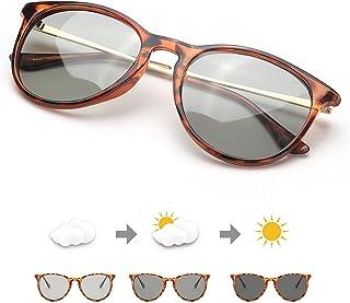 TJUTR - Fotocromaticas Gafas de Sol Polarizadas Unisex, Marco Retro Redondo - 100% Protección UVA UVB para Conduccion