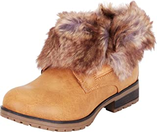 Cambridge Select Women's Faux Fur Fold Over Cuff Chunky Lug Sole Ankle Bootie