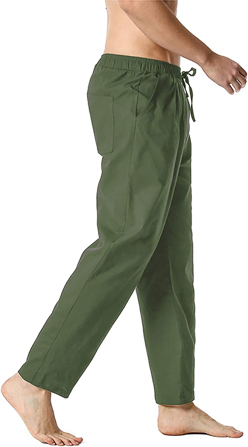 PHSHY Mens Linen Pants Casual Loose Drawstring Elastic Waist Stretchy Straight Wide Leg Yoga Beach Lounge Home Trousers