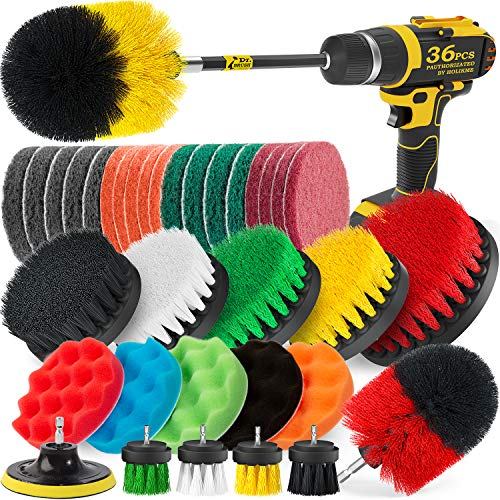 Holikme 36 Pack Drill Brush for Grout, Floor, Tub, Shower, Tile, Bathroom and Kitchen Surface Cleaning Brush