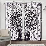 hogar ventana cortinas indias juego de 2 paneles de balcón transparente y cenefa dormitorio hecho a mano divisor de habitación de algodón bohemio cortina de mandala