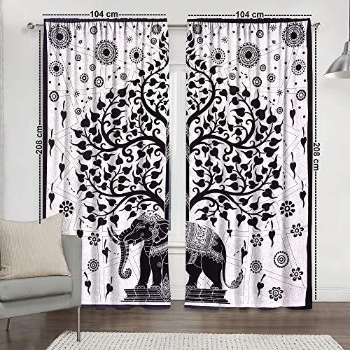 Sophia-Art hogar Ventana Cortinas Indias Juego de 2 Paneles de balcón Transparente y Cenefa Dormitorio Hecho a Mano Divisor de habitación de algodón Bohemio Cortina de Mandala
