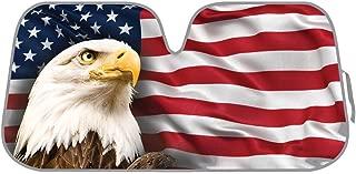 BDK A764 USA Eagle Flag Auto Sun Shade for Car SUV Truck - Stars & Stripes - Bubble Foil Jumbo Folding Accordion for Windshield