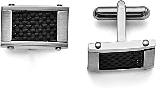 Lex & Lu Chisel Stainless Steel Black Carbon Fiber Rectangle Cuff Links