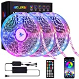 Aoguerbe Led Strip Lights 50 Feet Music Sync Color Changing Led Light Strips with 44-Keys IR Remote Controller RGB Rope Light Smart Led Lights for Bedroom Home Kitchen Party Decoration