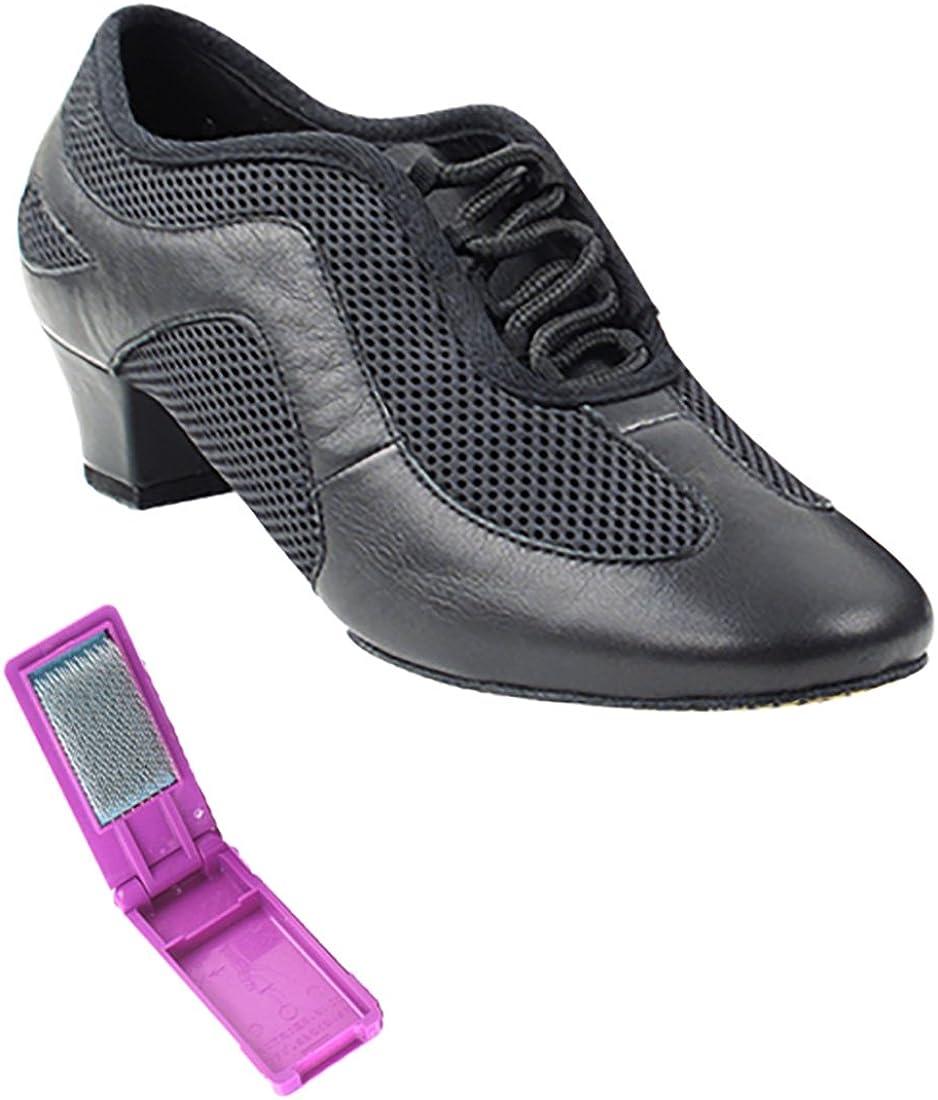 Very Fine Ballroom Salsa Practice Dance Shoes for Women SERA702BBX 1.5-Inch Heel + Foldable Brush Bundle