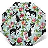 Boston Terrier Hawaiian Travel Umbrella Sombrilla para el Sol-Paraguas Ligero Protector Solar a Prueba de Viento-Botón de Apertura y Cierre automático