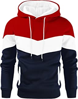 Gesean Men's Novelty Color Block Pullover Fleece Hoodie Long Sleeve Casual Sweatshirt with Pocket