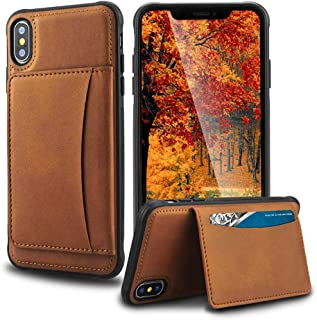 XAMGTAE iPhone Xs/X Wallet Case, iPhone Leather Cover with 3 Card Holder, Magnetic Flip Closure with Card Holders, Stand Flip Case in Magnetic Closure, Shockproof Phone Protective Cover Cases