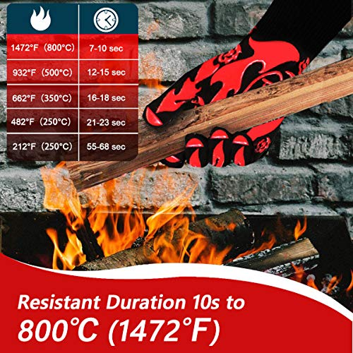 Lightone BBQ Gloves, 1472℉ Extreme Heat Resistant Grill Gloves, Non-Slip Cooking Gloves,Hot Cooking Oven Gloves for Grilling, Frying, Baking, Welding, Fireplace