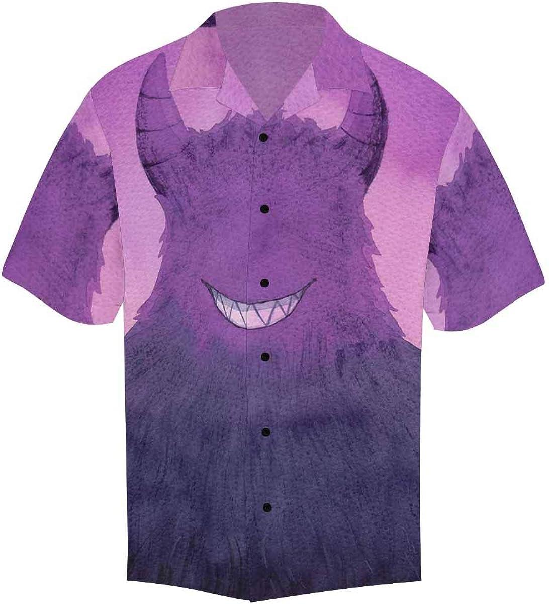 InterestPrint Men's Casual Button Down Short Sleeve Creepy Monster Smiles Vampire Hawaiian Shirt (S-5XL)