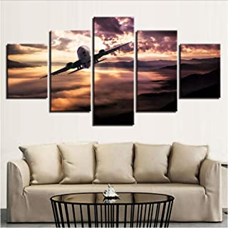pbbzl Canvas HD Poster Modern Room Decor Artwork Framework 5 Piezas Aircraft Sunset Scenery Paintings Modular Pictures Wall Art-20X35Cmx2,20X45Cmx2,20X55Cmx1