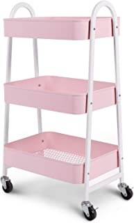 3-Tier Utility Rolling Cart with Large Storage and Metal Wheels for Office,Kitchen,Bedroom,Bathroom,Black,Pink,White 130839