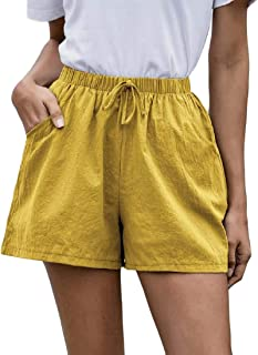 desolateness Women's Casual Elastic Waist Drawstring Summer Beach Shorts with Pockets