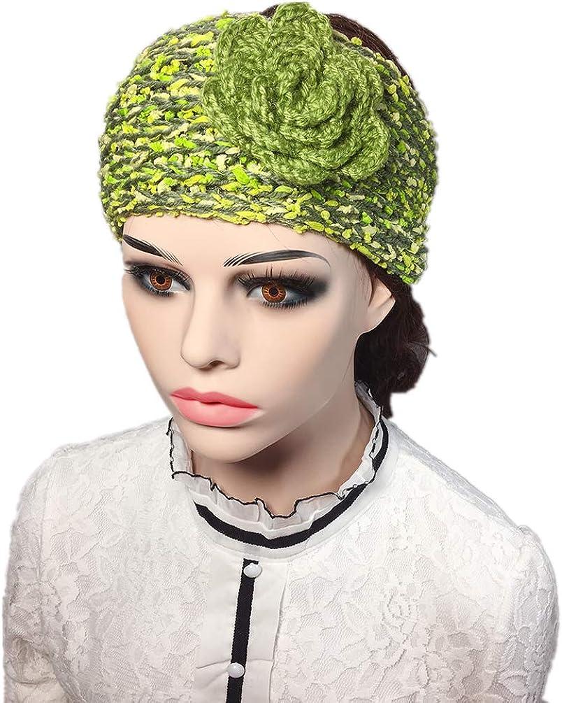 YSJOY Elegant Camellia Flower Cable Knit Winter Turban Ear Warmer Headband