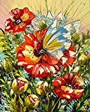 Ojmikmg Pintar por Numeros para Adultos Niños Principiantes -Pintura por Números Mariposa Flor con Pinceles y Pinturas DIY Conjunto 40 x 50 cm Sin Marco