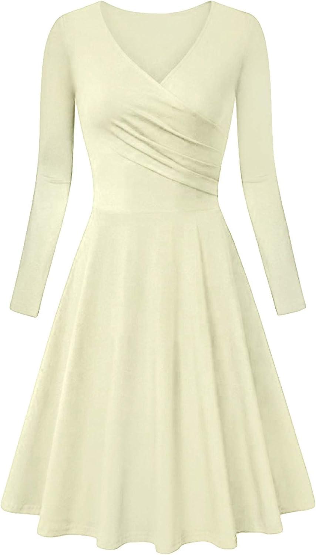 GORIFE Women's Solid Color Long Sleeve Dresses V Neck Swing Dresses Wrap Dress XS-3XL
