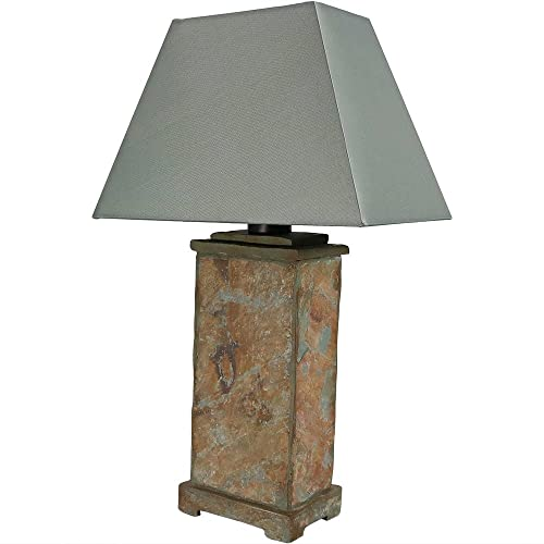 Delightful Sunnydaze Indoor/Outdoor Natural Slate Table Lamp, Weather Resistant 24 Inch