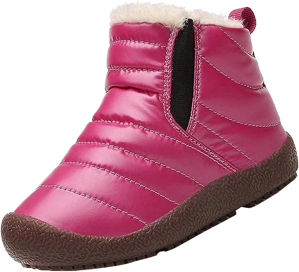 KVbaby Enfant Bottes de Neige Fille Gar/çon Bottes dhiver Chaudes Bottines Bottines de Pluie Imperm/éable Fourrure /à Talons Plats Boots