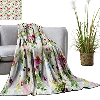 AndyTours Weighted Blanket Adult,Floral,Spring Season Flowers Leaves Pastel Watercolors Hand Painted Vintage Romantic,Pink Purple Green,Soft, Fuzzy, Cozy, Lightweight Blankets 70